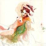 Dessin de nu féminin & aquarelle