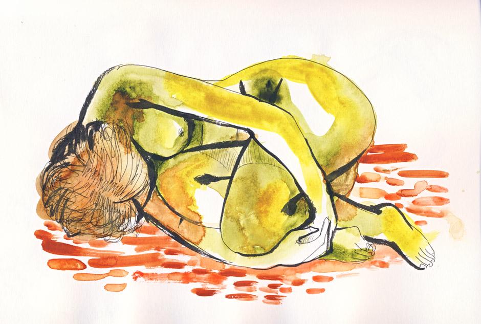 femme nue recroquevillée à l'aquarelle, atelier de nu