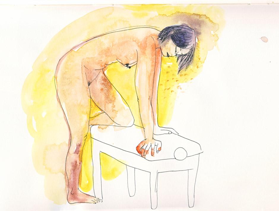 femme penchée, atelier de nus à l'aquarelle