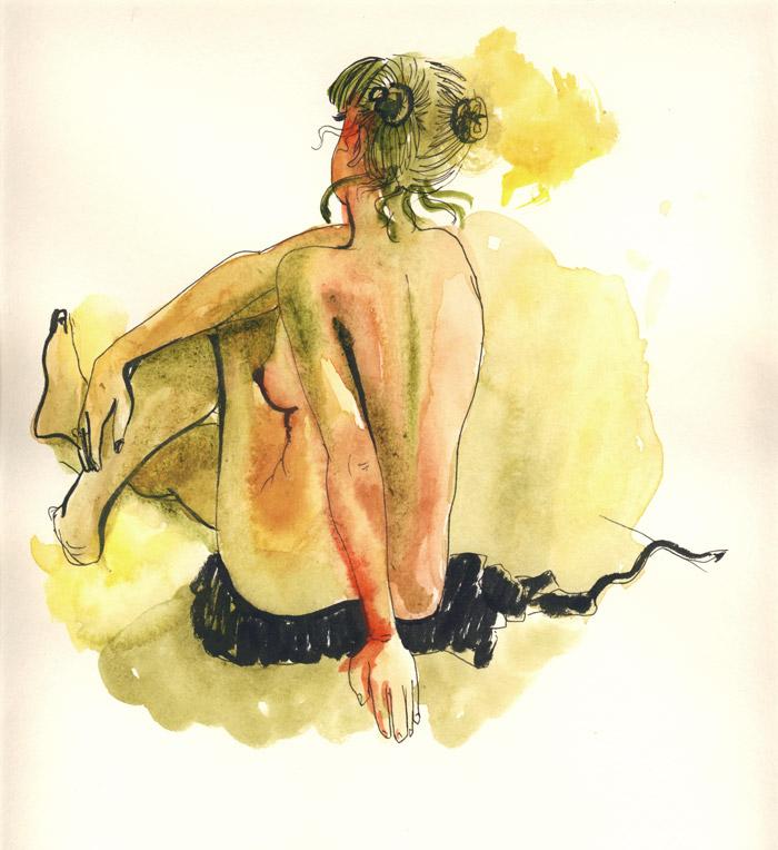 femme nue de dos, aquarelle, dessin de nu à tolbiac