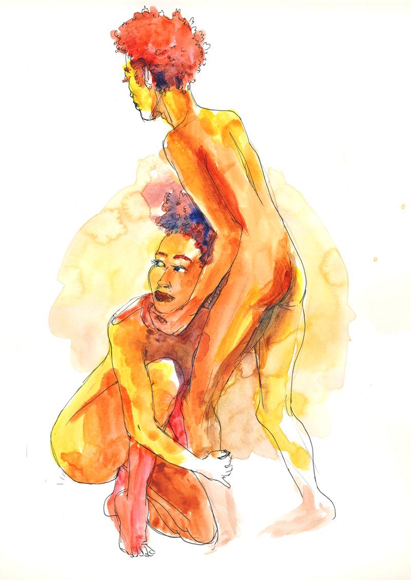 dessin de nu, pose en duo