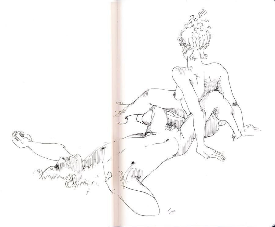 dessin de nu, pose en duo, de dos