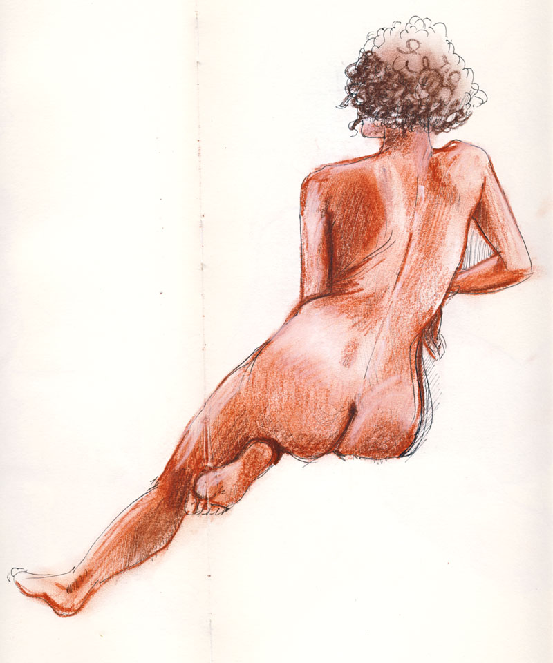 femme de dos au crayon sanguine pastel