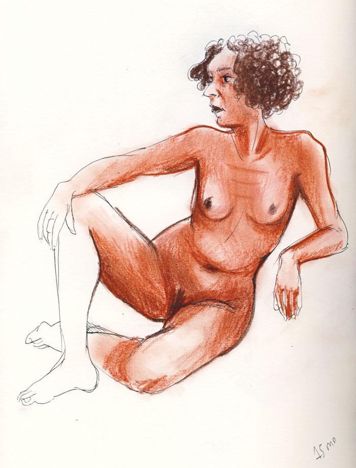 femme assise au crayon sanguine pastel