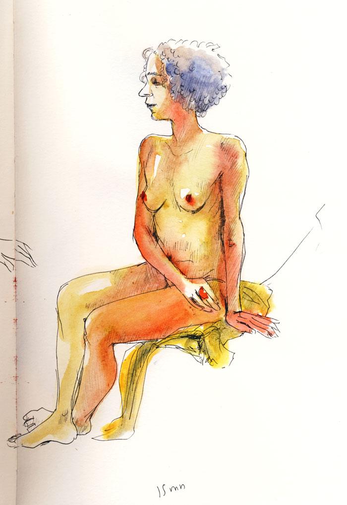 femme assise au pastel