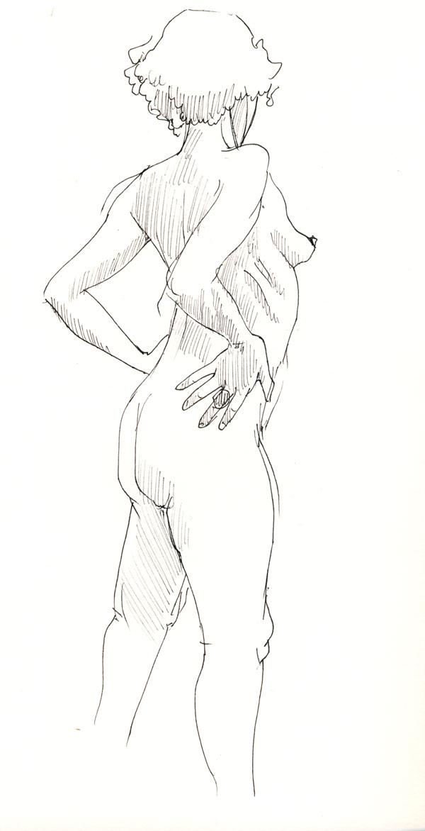 dessin de nu, femme debout de dos au stylot