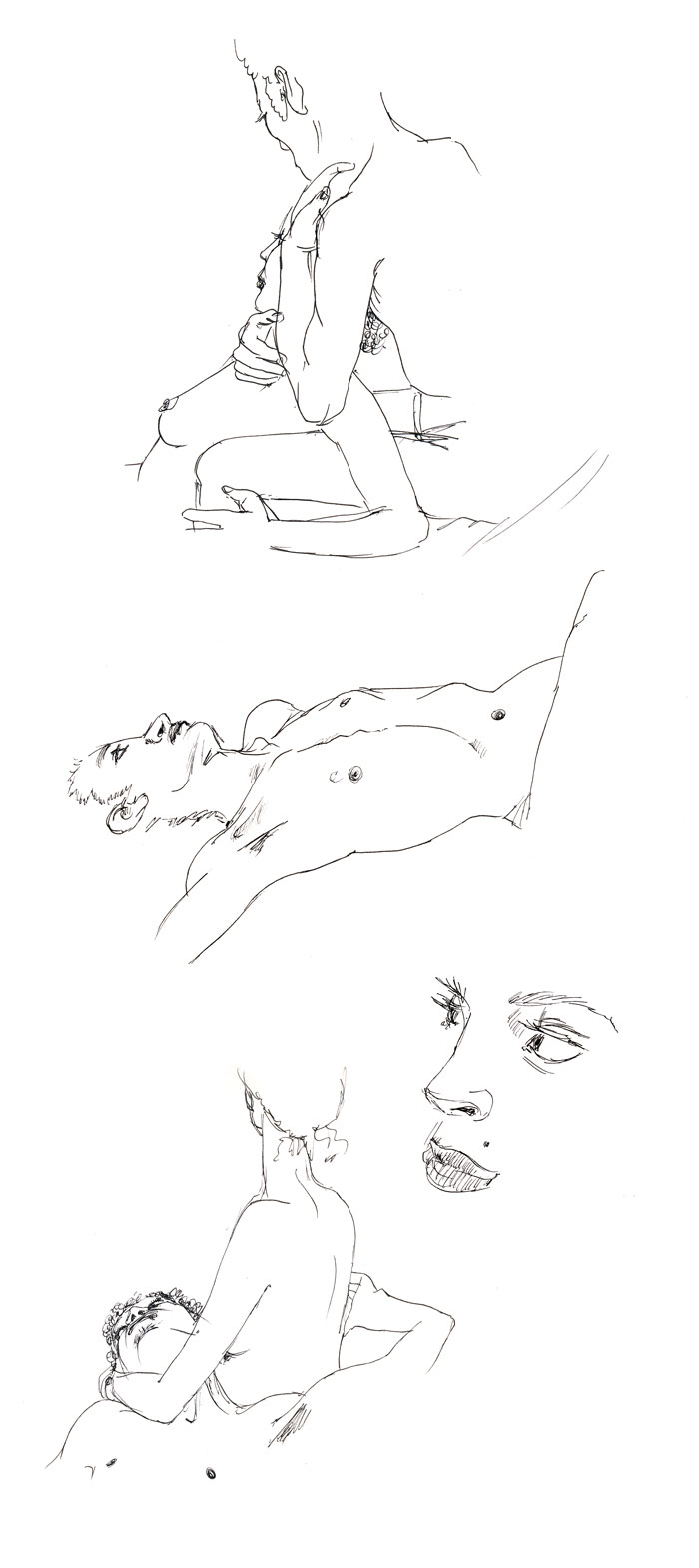 dessin de nu, pose en duo, de profil, aquarelle
