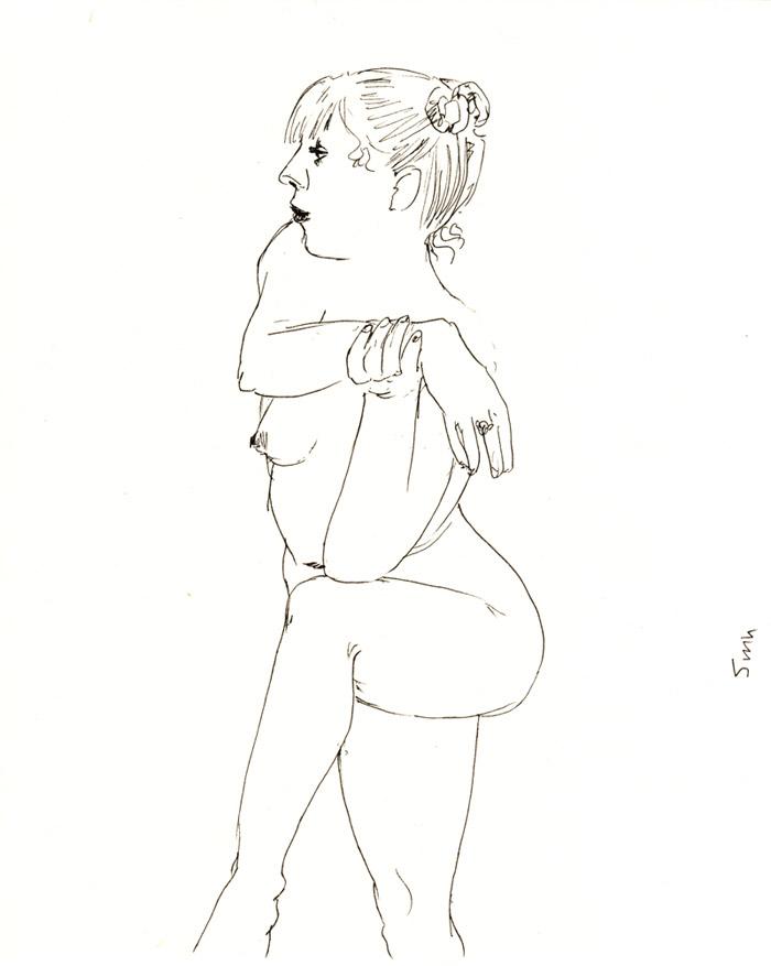 dessin de nu, crayon, femme de profil
