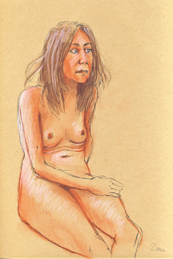 dessin de nu au pastel, atelier, femme nue, crayon pastel, sanguine, sepia