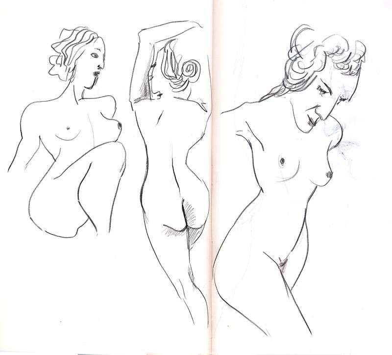 dessin de nu au pastel, atelier, femme nue, crayon gris pause rapide, une minute
