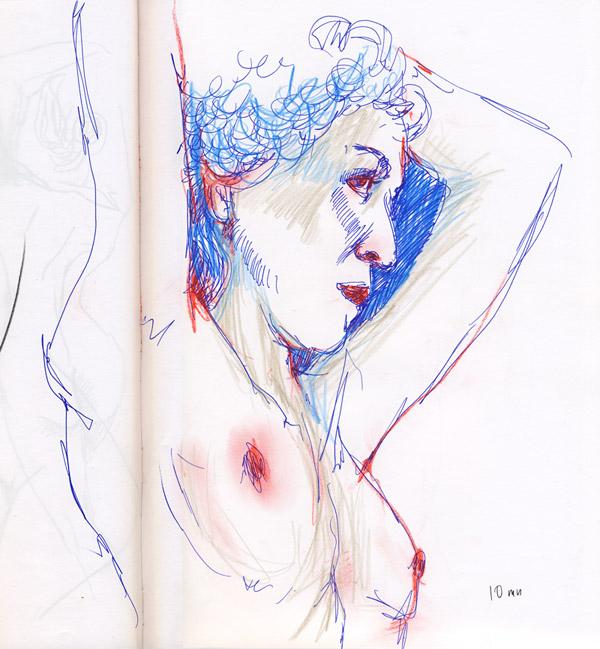 dessin de nu au stylot bleu, atelier, femme nue, pastel rouge