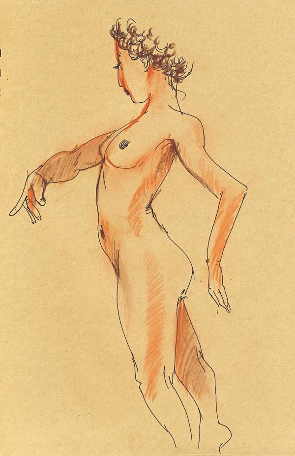 dessin de nu au pastel sur papier craft, atelier, femme nue, crayon pastel