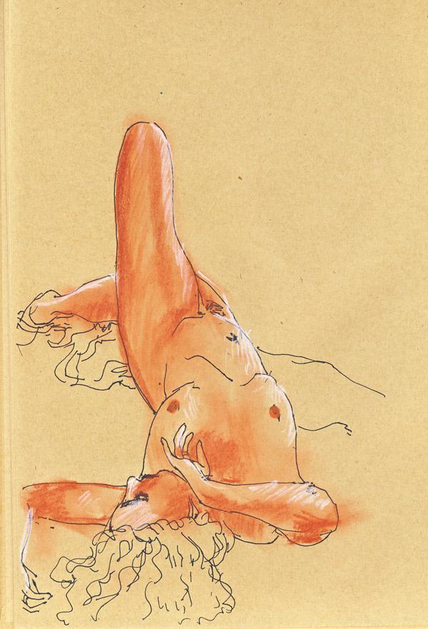dessin de nu au pastel sur papier craft, femme nue, allongée, crayon pastel
