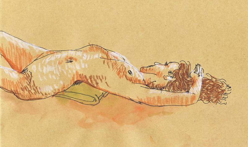 dessin de nu au pastel sur papier craft, atelier, femme nue au trait, crayon pastel