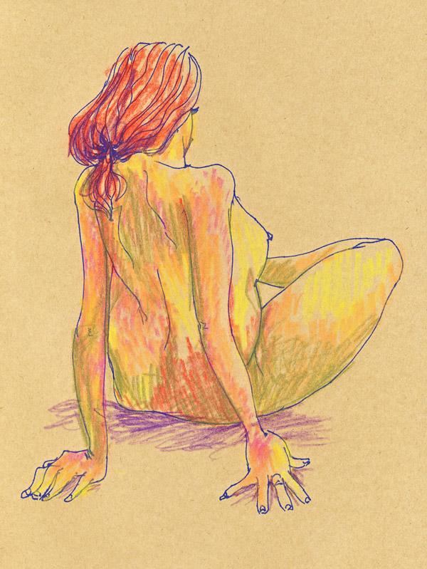 dessin de nu au pastel sur papier craft, atelier, femme nue plein de couleurs, crayon pastel