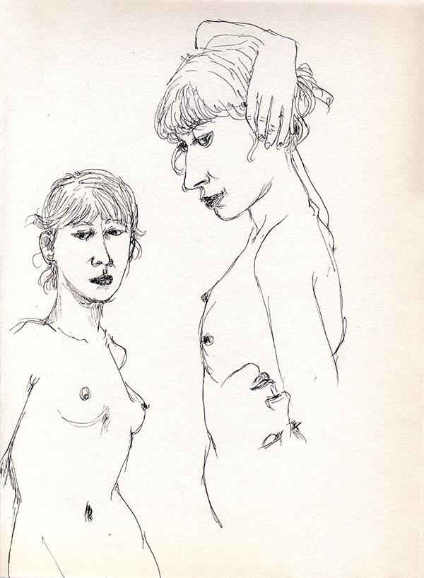 dessin de nu au stylot noir