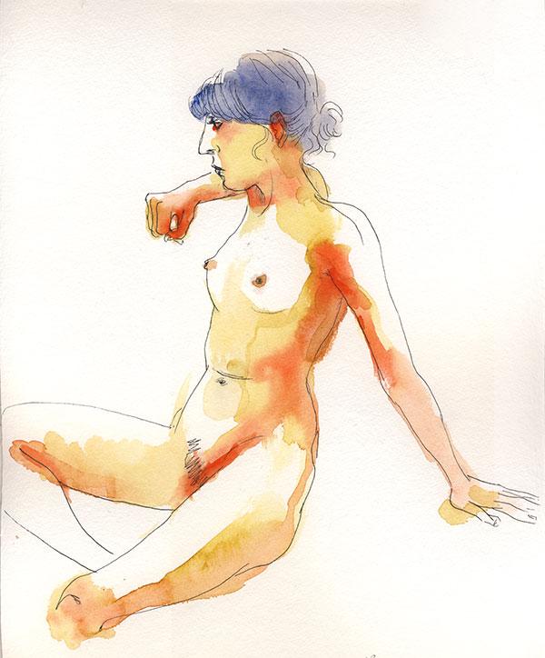 croquis de nu, atelier de modèle vivant, femme nue, buste aquarelle