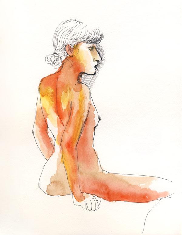 dessin de nu, atelier de modèle vivant, femme nue, profil aquarelle rouge orange