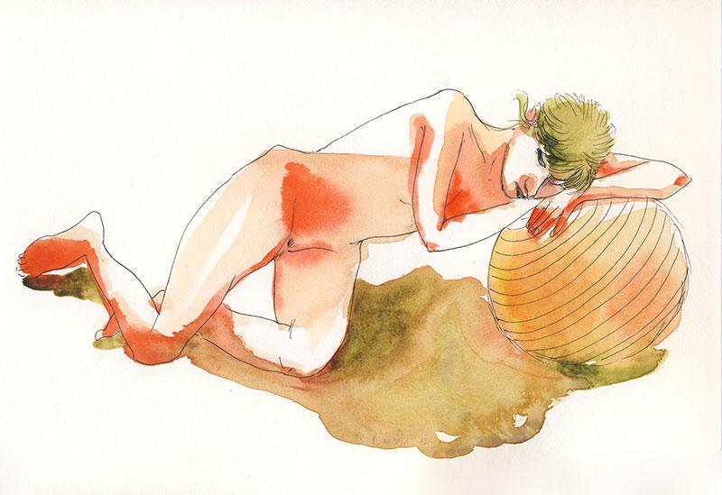dessin de nu, atelier de modèle vivant, femme couchée avec balle, aquarelle orange vert