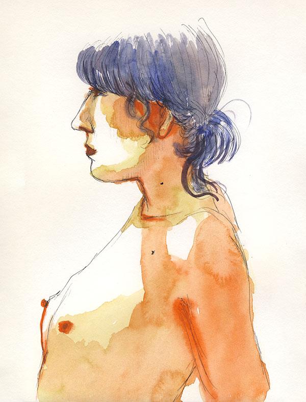 dessin de nu, atelier de modèle vivant, femme de profil portrait, aquarelle orange bleu