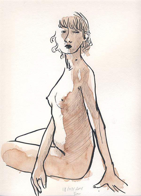 dessin de nu, atelier de modèle vivant, femme port de tête, aquarelle sépia