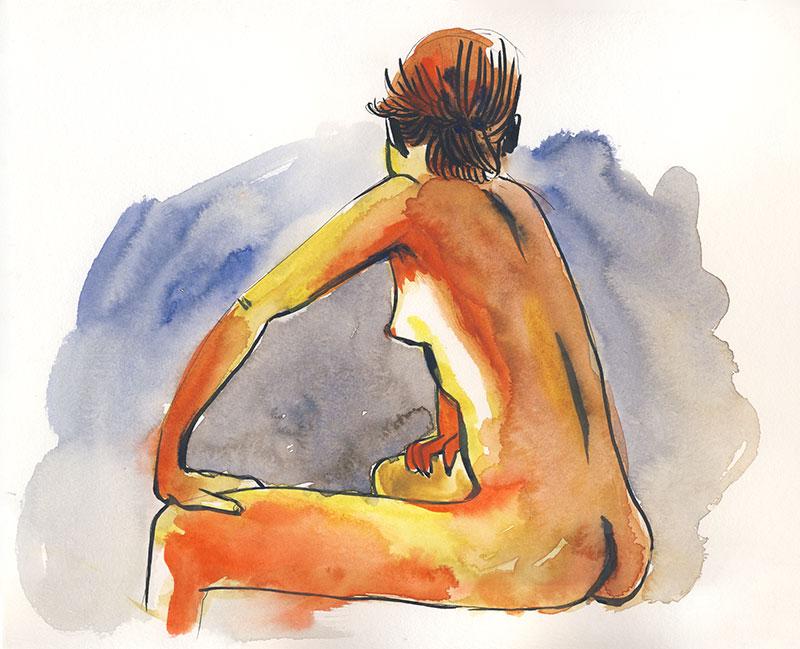 dessin de nu, atelier de modèle vivant, femme de dos assise, aquarelle orange rouge bleu