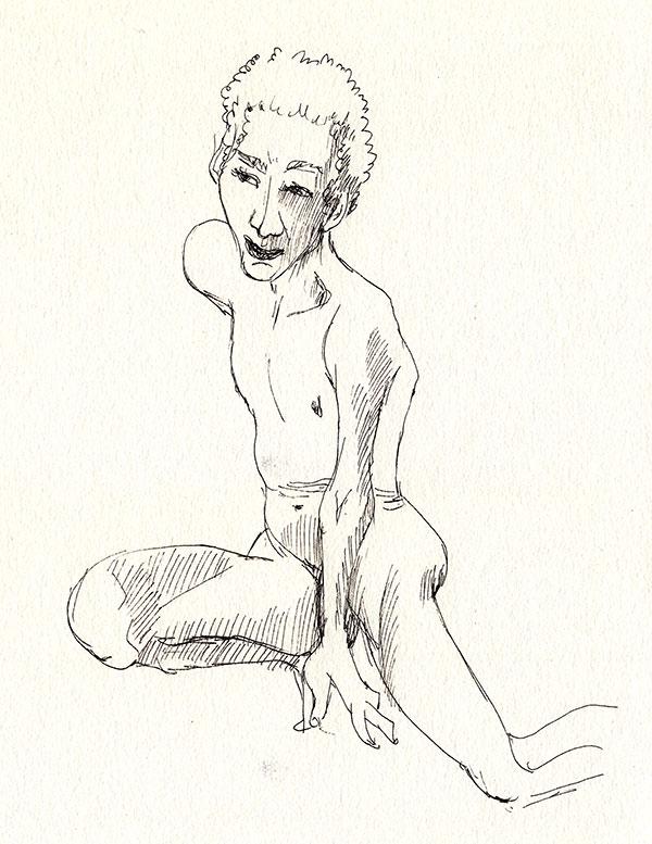 dessin au trait, nu masculin accroupi