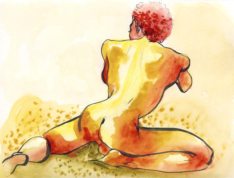 aquarelle de dos, homme, atelier de nu masculin