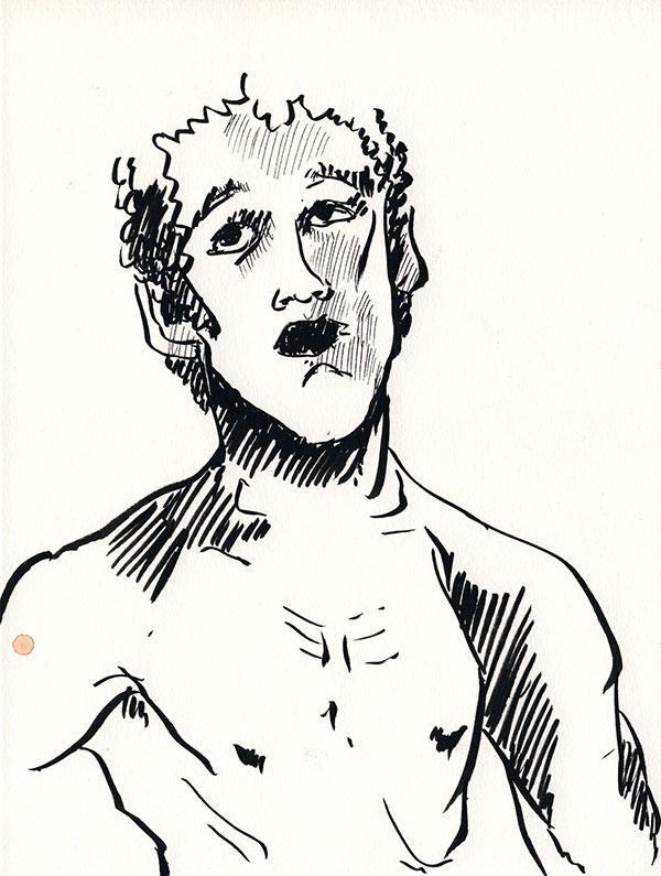dessin au trait pentel, visage et buste homme