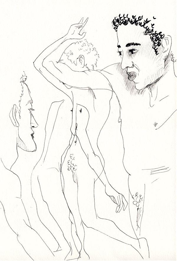 plusieurs poses de nu masculin