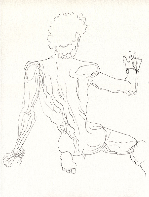 dessin de nu, dos au trait, atelier de nu, masculin paris