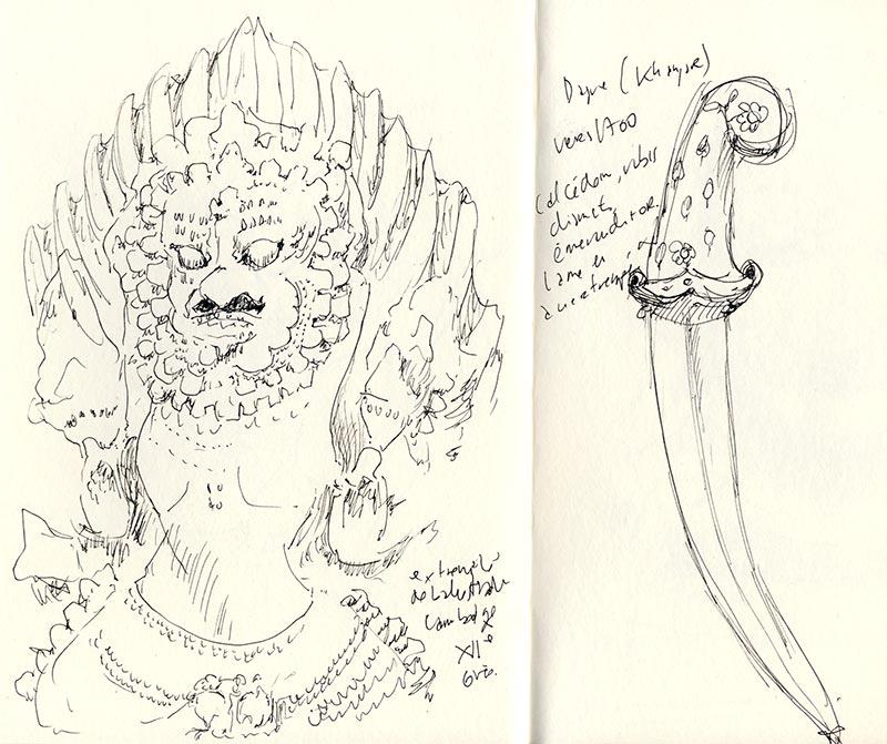 musee guimet dessin balustrade dague