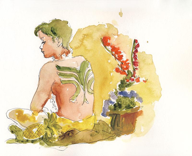 docteur sketchy homme de dos tatouage  aquarelle jacoulet branly