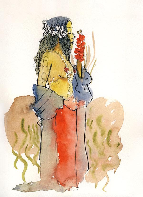 docteur sketchy femme profil torse nu  fleurs aquarelle jacoulet branly