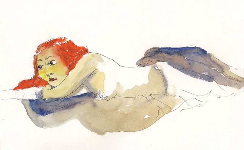 docteur sketchy femme allongée aquarelle jacoulet branly