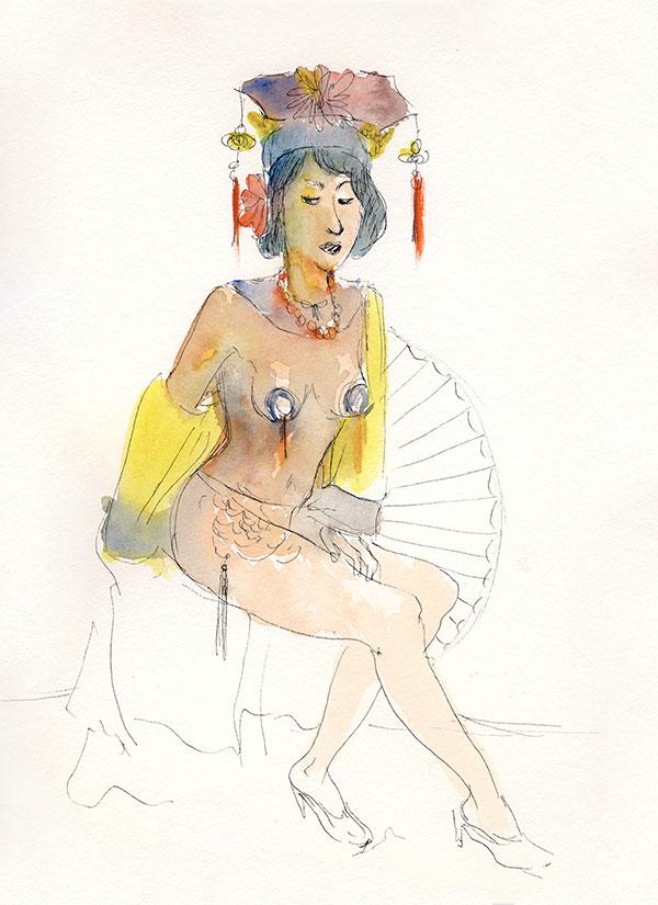 docteur sketchy femme assise aquarelle jacoulet branly