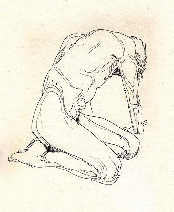 dessin de nu masculin à genoux, paris, noir et blanc, tabouret
