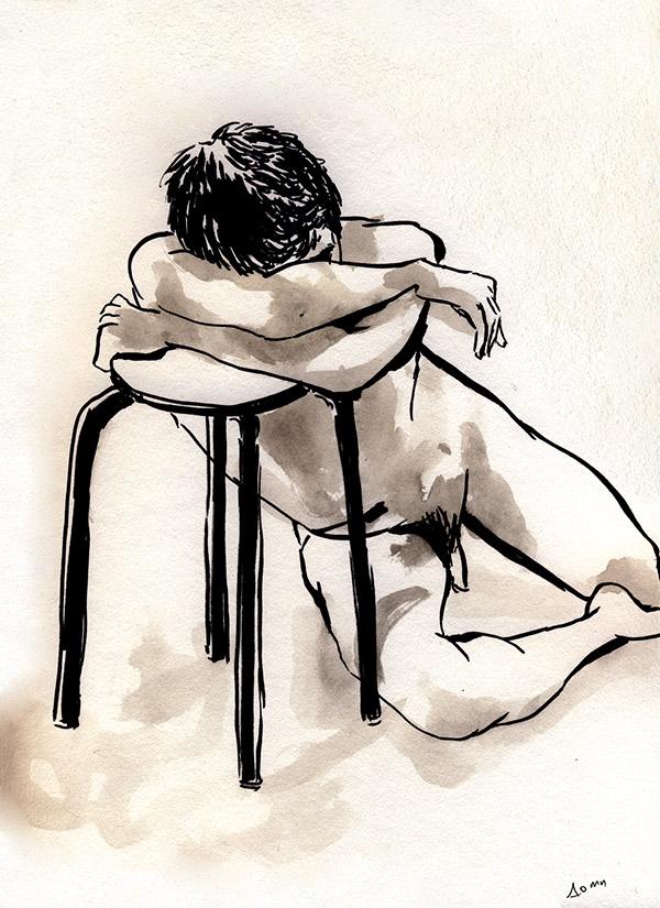 dessin de nu masculin replié, paris, noir et blanc, tabouret
