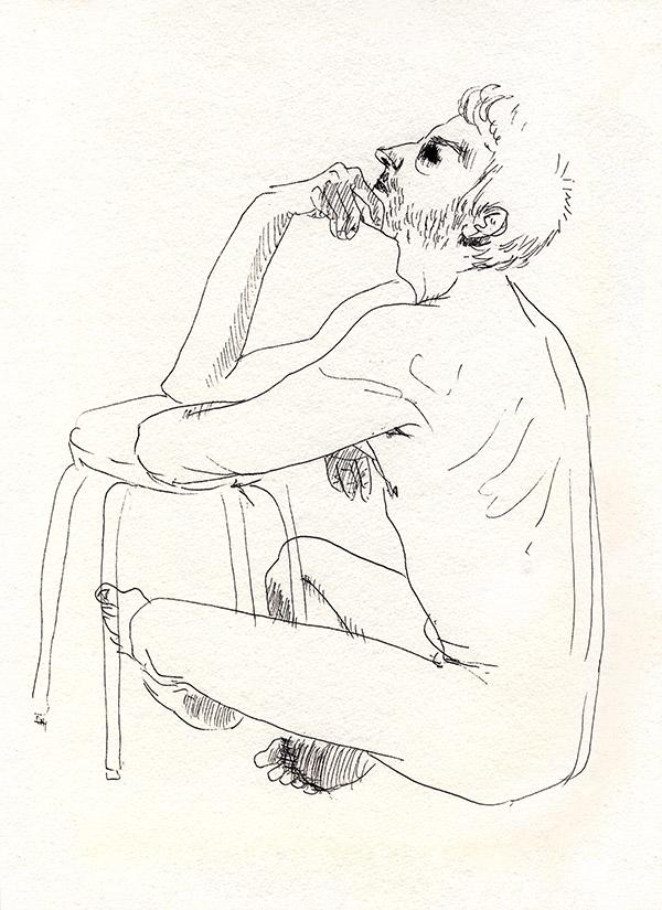 dessin de nu masculin assis pensif, paris, noir et blanc, tabouret