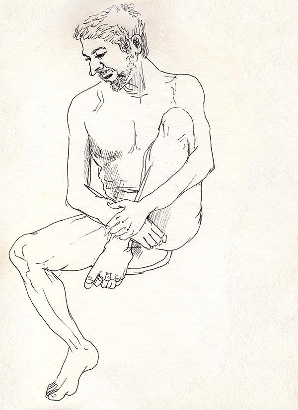 dessin de nu masculin assis, paris, noir et blanc, tabouret