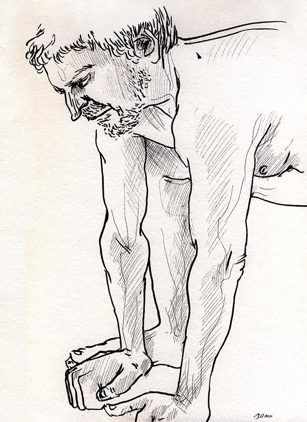 dessin de nu masculin, paris, noir et blanc, tabouret