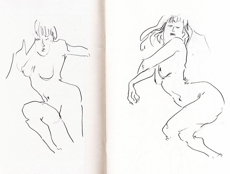 dessin de nu femme croquis rapide en une minute