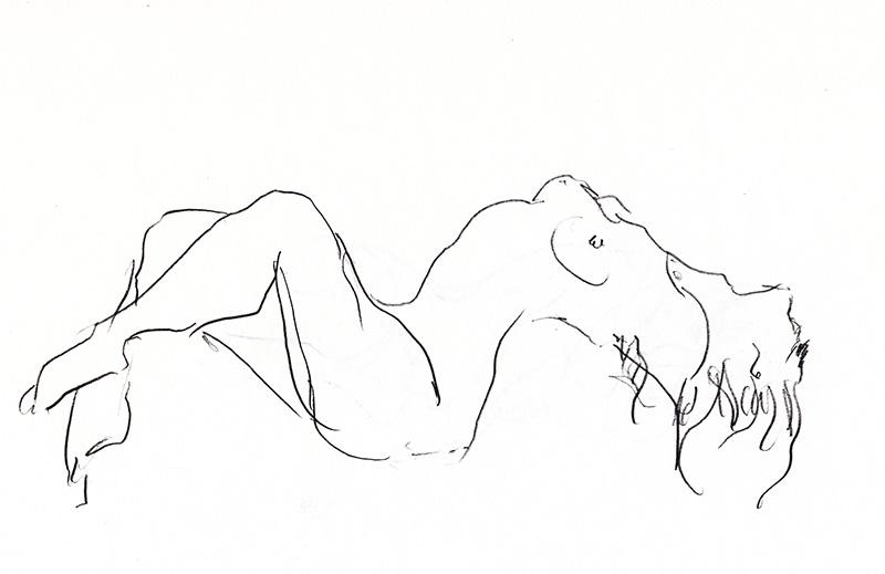 nu allongé sexy dessin femme