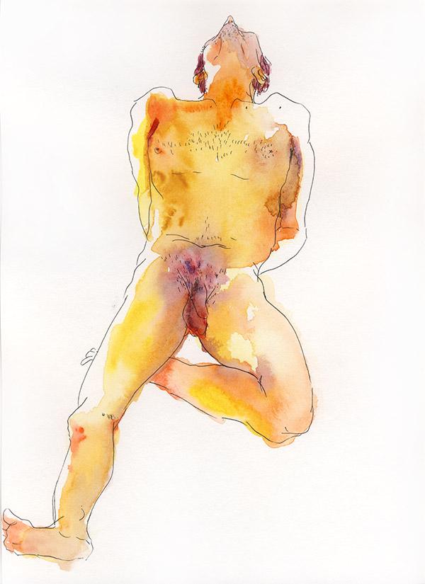 nu masculin aquarelle paris allongé jambes croisées modèle