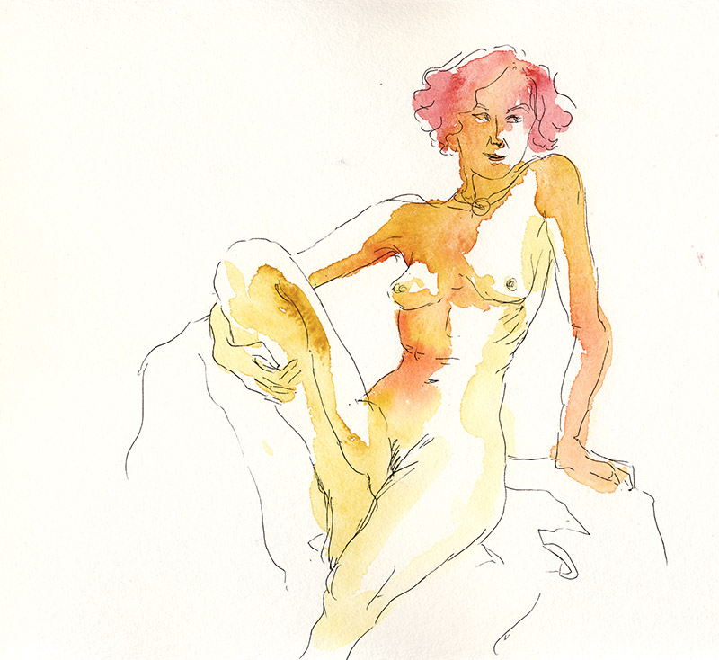 dessin de nu féminin assis aquarelle