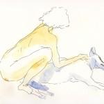 Dessin de nu féminin et son chien