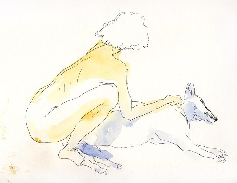 femme de dos nue avec chien modèle vivant