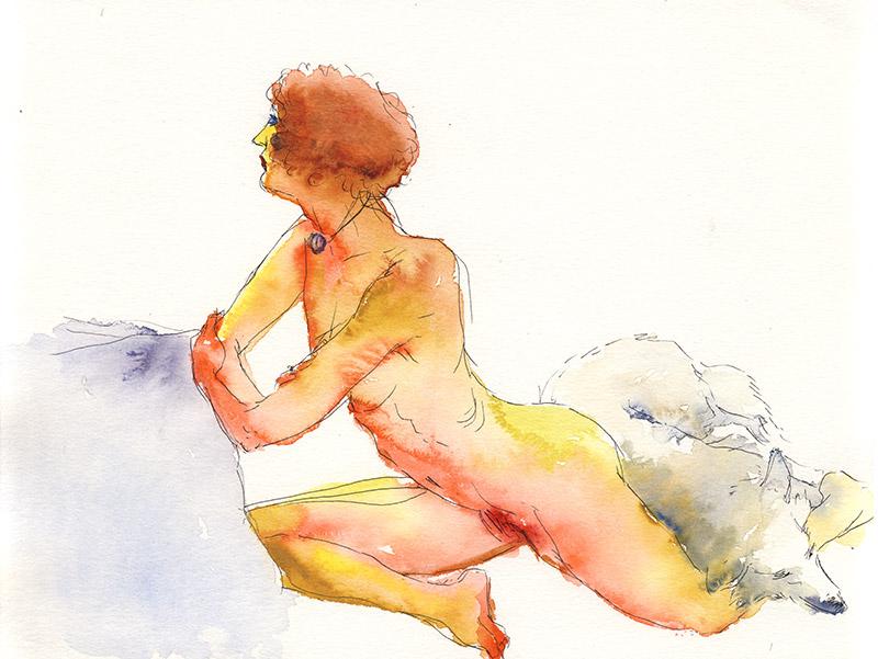 femme tournée nue atelier dessin modèle