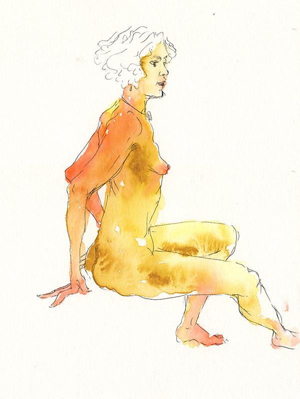 femme nue assise atelier paris
