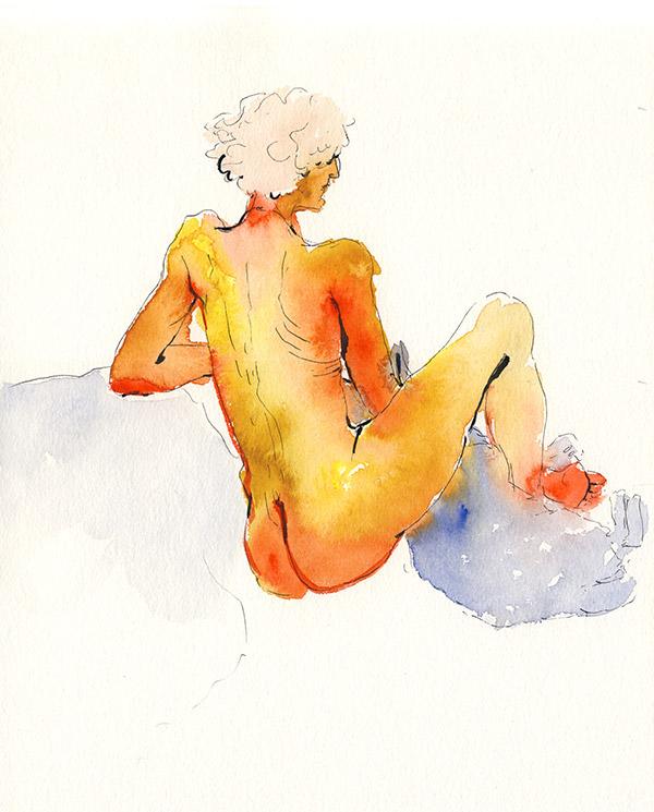femme de dos dessin de nu paris atelier chien